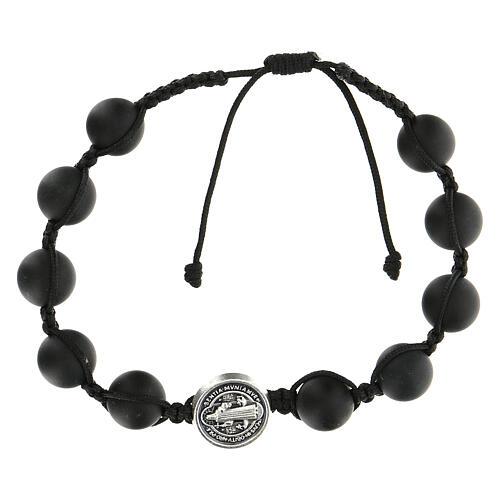 Bracelet grains noirs Medjugorje pierre polie Saint Benoît argenté 1