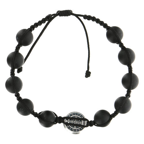 Bracelet grains noirs Medjugorje pierre polie Saint Benoît argenté 2
