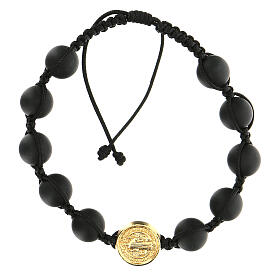 Golden Medjugorje bracelet with black beads in smoothed stone St. Benedict s1