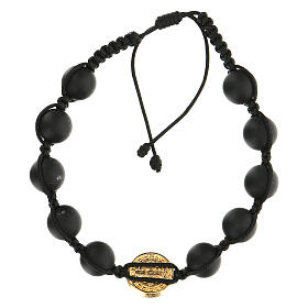 Golden Medjugorje bracelet with black beads in smoothed stone St. Benedict s2