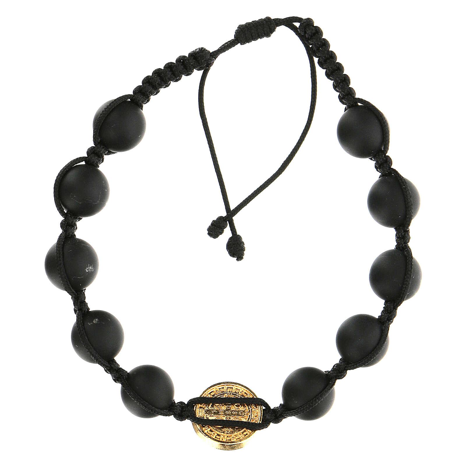 Pulsera Medjugorje granos negros piedra pulida San Benito oro 4