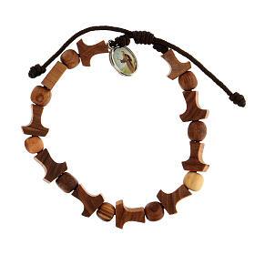 Olive tree bracelet Medjugorje tau medal brown rope  s1