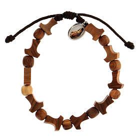Olive tree bracelet Medjugorje tau medal brown rope  s2