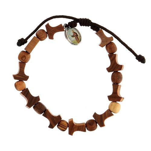 Olive tree bracelet Medjugorje tau medal brown rope  1