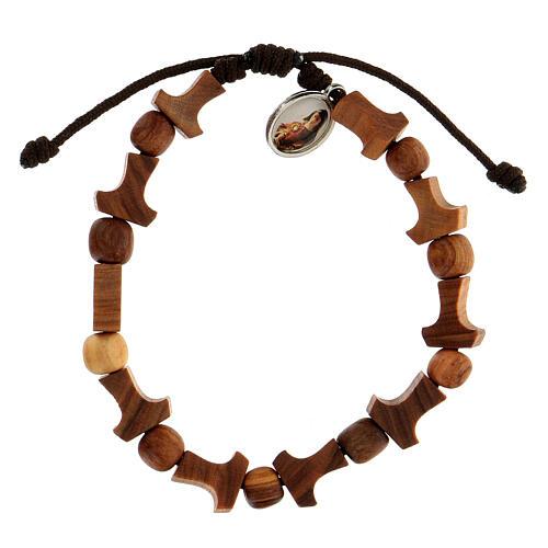 Olive tree bracelet Medjugorje tau medal brown rope  2