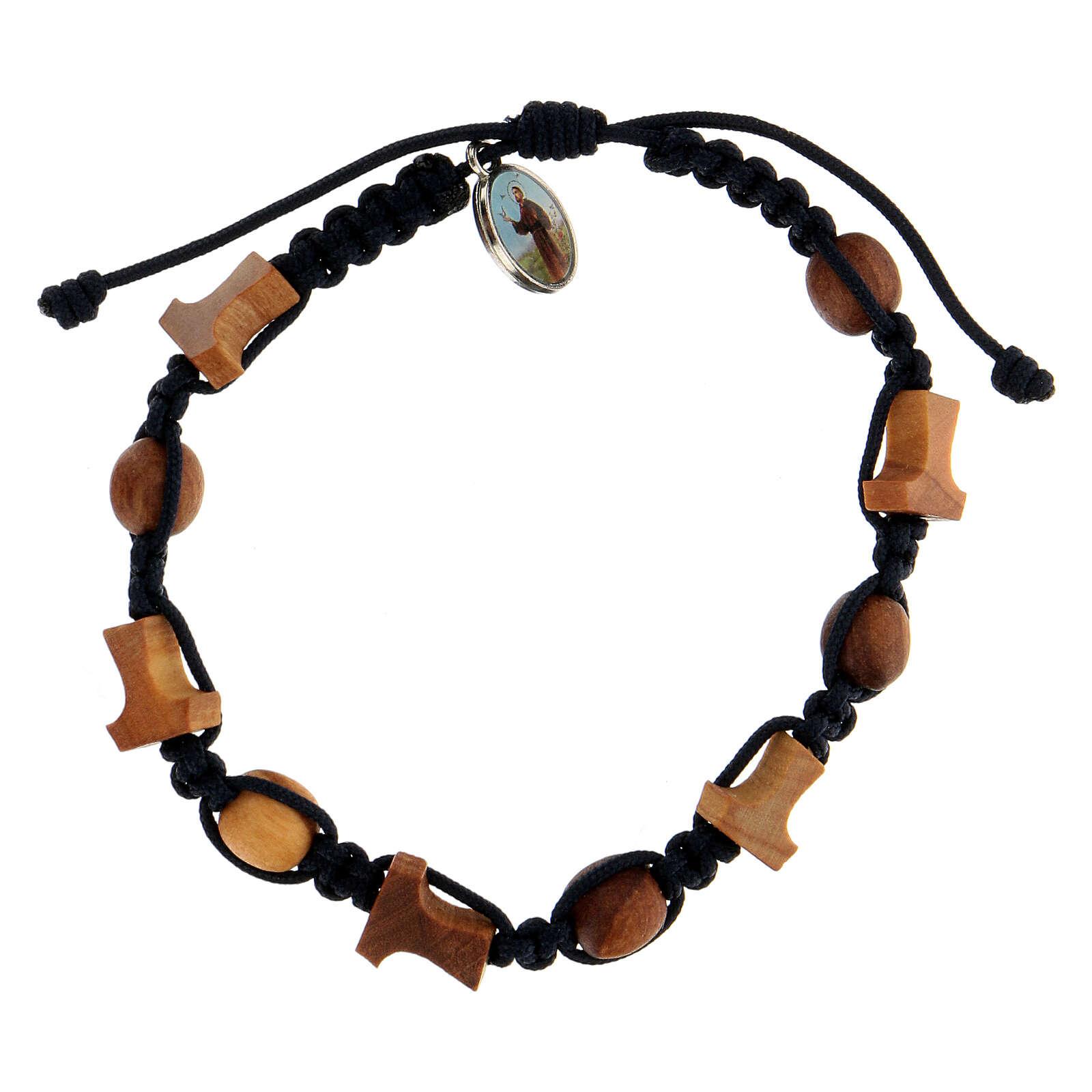 Bracelet Medjugorje grains tau olivier corde bleue 4