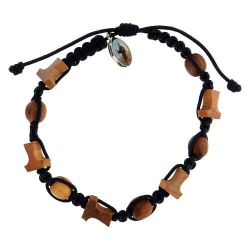 Bracelet Medjugorje grains tau olivier corde bleue 1