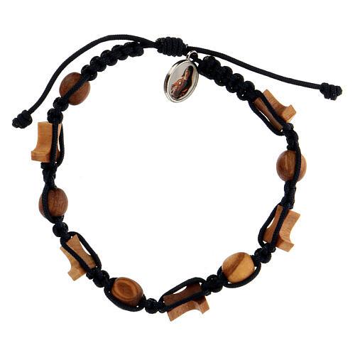 Bracelet Medjugorje grains tau olivier corde bleue 2