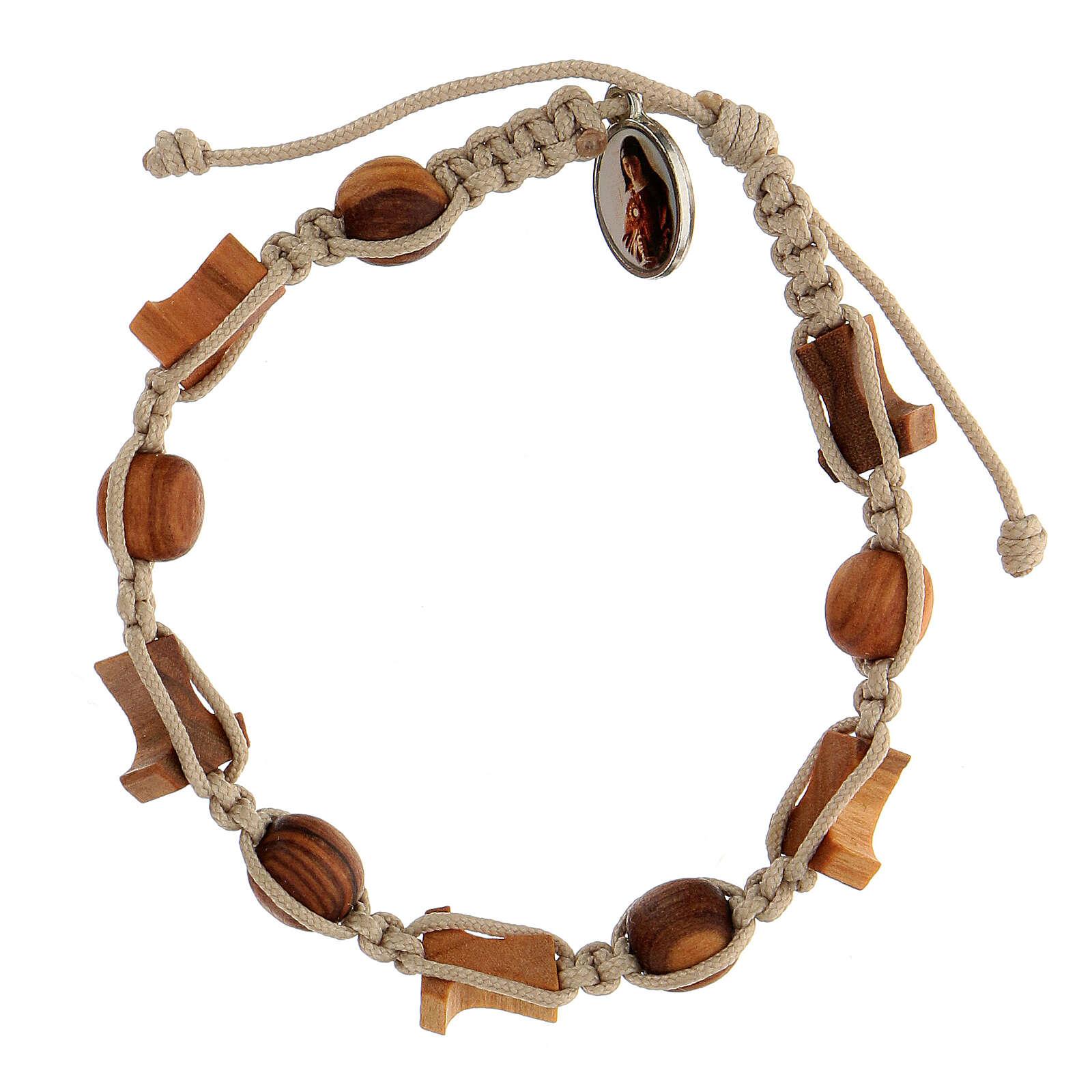 Bracelet croix tau grains ronds Medjugorje corde beige 4