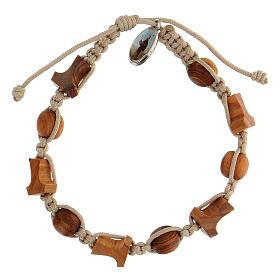Bracelet croix tau grains ronds Medjugorje corde beige s1
