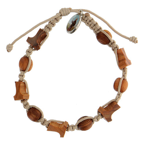 Bracelet croix tau grains ronds Medjugorje corde beige 1