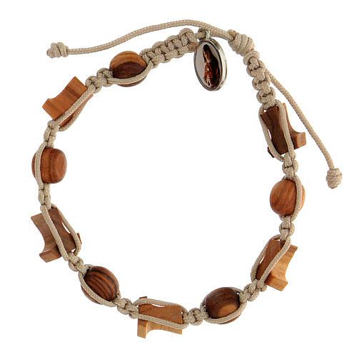 Bracelet croix tau grains ronds Medjugorje corde beige 2