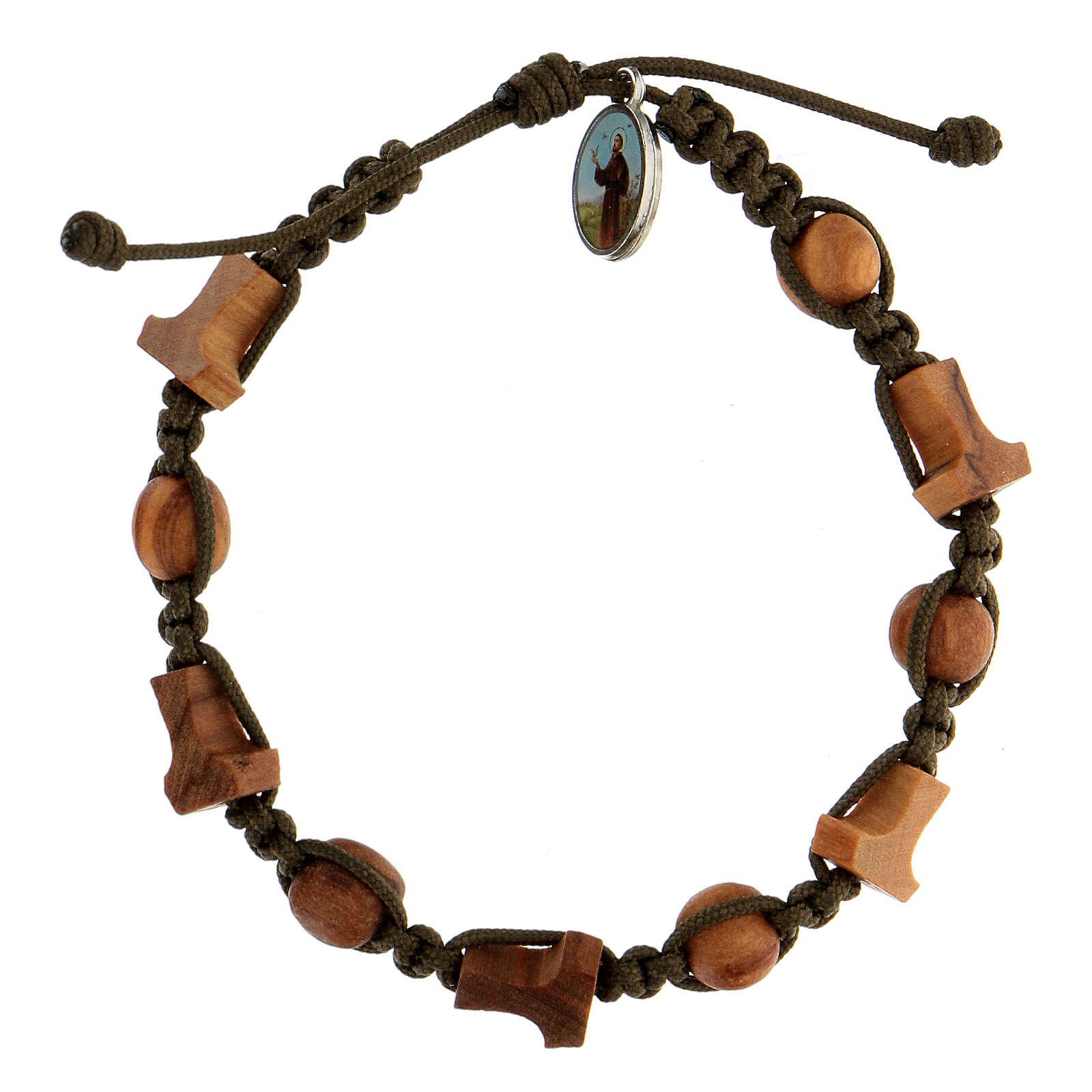 Medjugorje bracelet olive tree crosses tau medal dark green rope 4