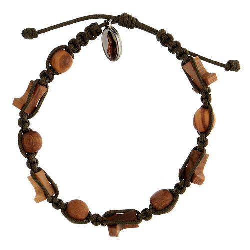 Medjugorje bracelet olive tree crosses tau medal dark green rope 2