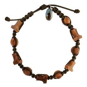 Bracelet olivier croix tau médaille Medjugorje corde vert foncé s1