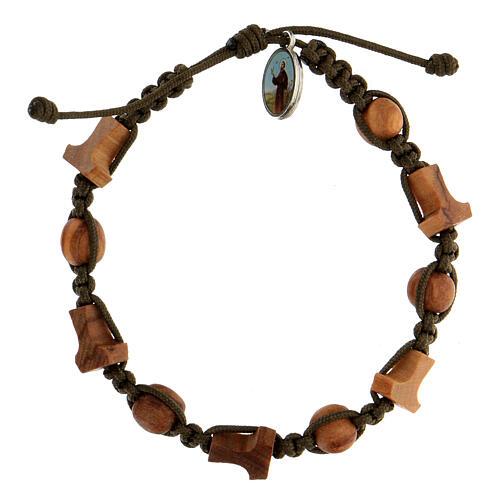 Bracelet olivier croix tau médaille Medjugorje corde vert foncé 1