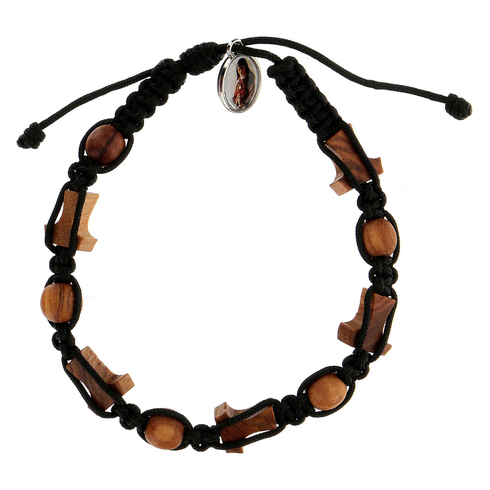 Pulsera Medjugorje granos cruces cuerda negra 4
