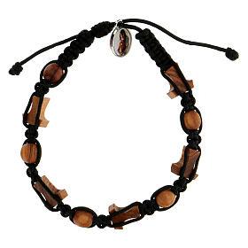 Bracelet Medjugorje grains croix corde noire s2