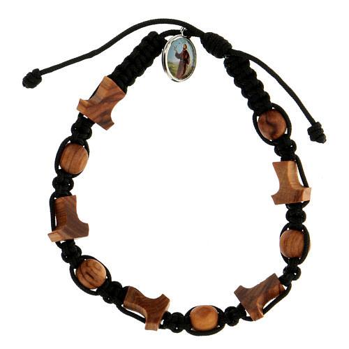 Bracelet Medjugorje grains croix corde noire 1