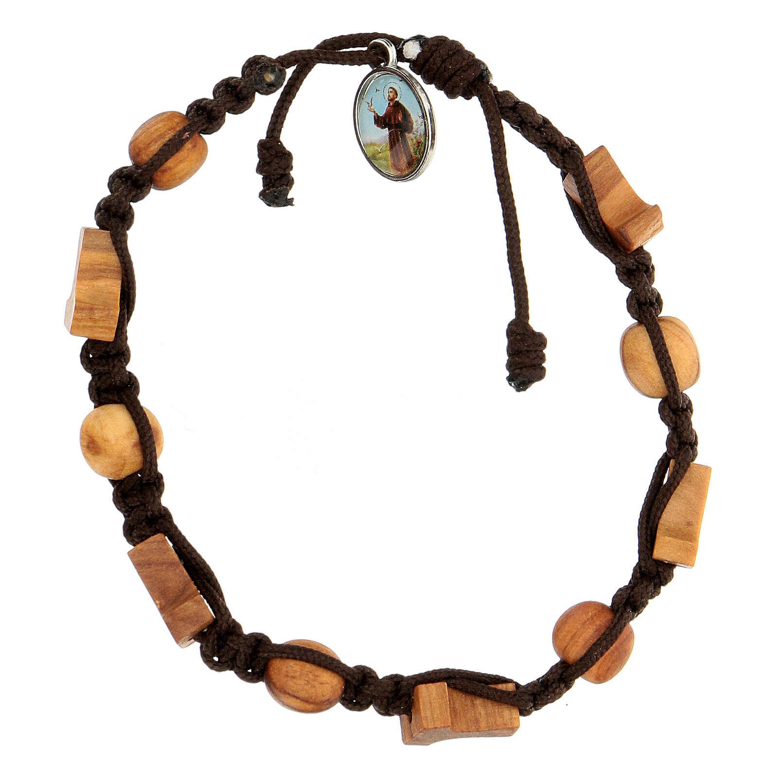Pulsera Medjugorje cruces granos cuerda marrón 4