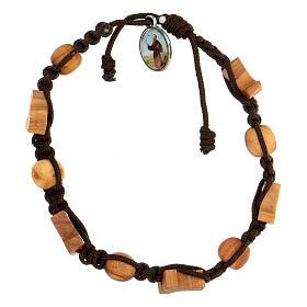 Pulsera Medjugorje cruces granos cuerda marrón s1