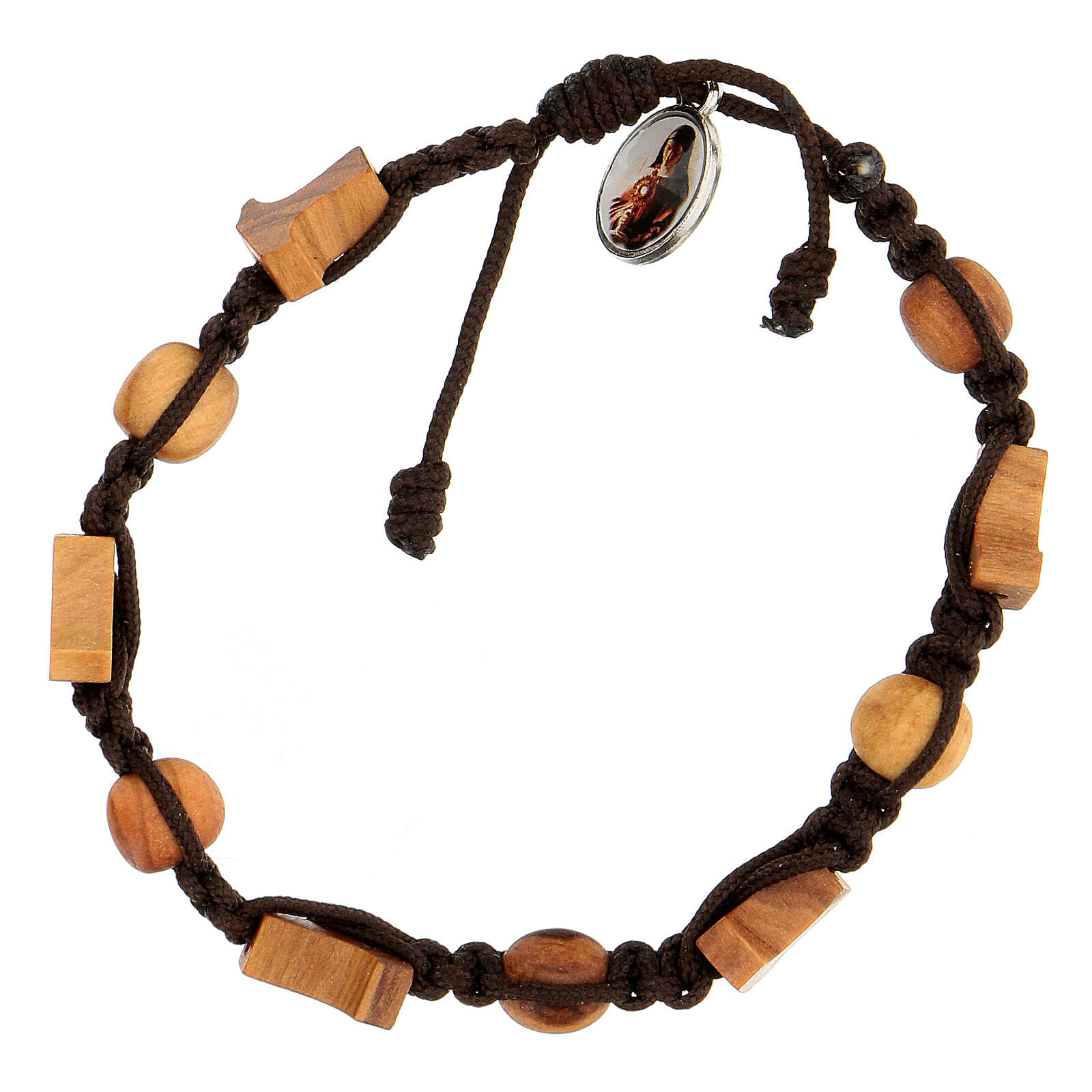 Bracelet Medjugorje croix grains corde marron 4