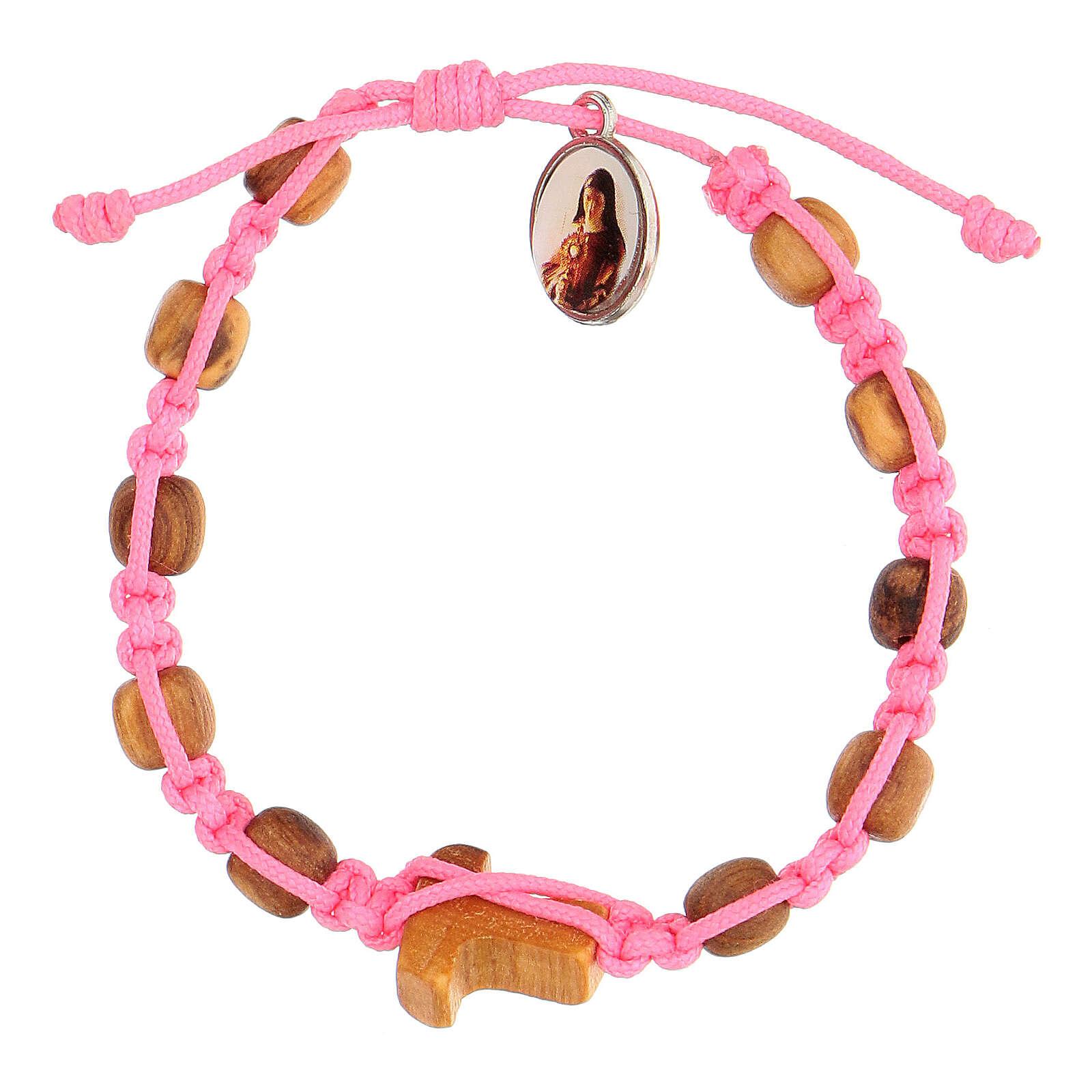 Pulsera Medjugorje granos redondos niño cuerda rosa 4