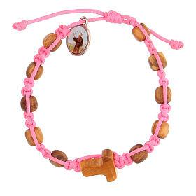 Pulsera Medjugorje granos redondos niño cuerda rosa s1