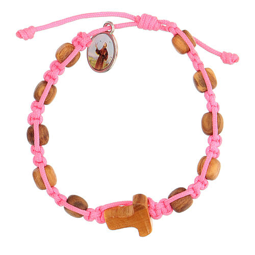 Pulsera Medjugorje granos redondos niño cuerda rosa 1
