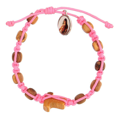 Pulsera Medjugorje granos redondos niño cuerda rosa 2
