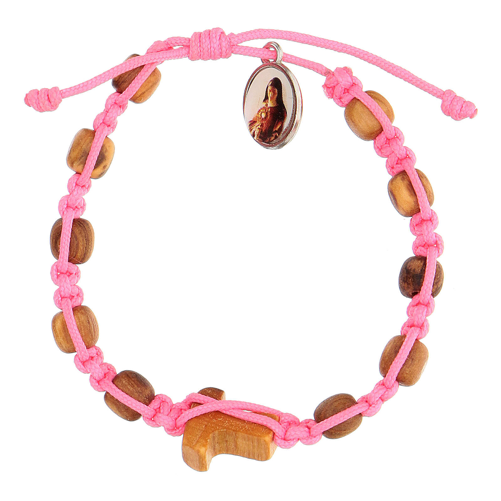 Bracelet Medjugorje grains ronds enfant corde rose 4