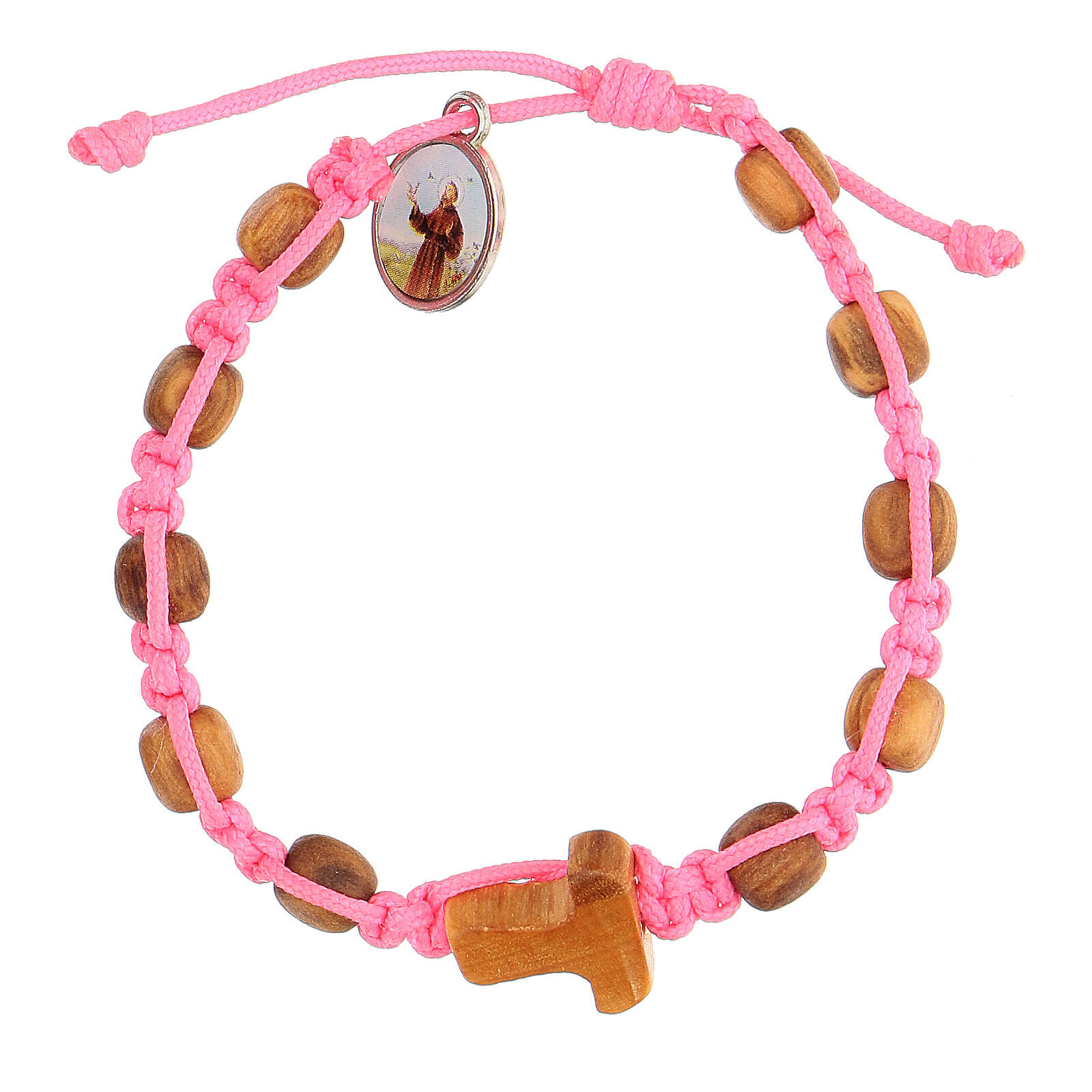 Bracciale Medjugorje grani tondi bambino corda rosa 4