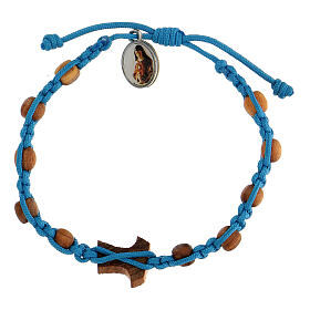 Medjugorje bracelet made of beads and tau cross in olive wood s2