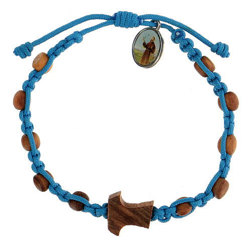 Medjugorje bracelet made of beads and tau cross in olive wood 1