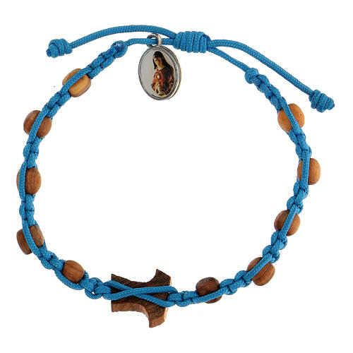 Medjugorje bracelet made of beads and tau cross in olive wood 2