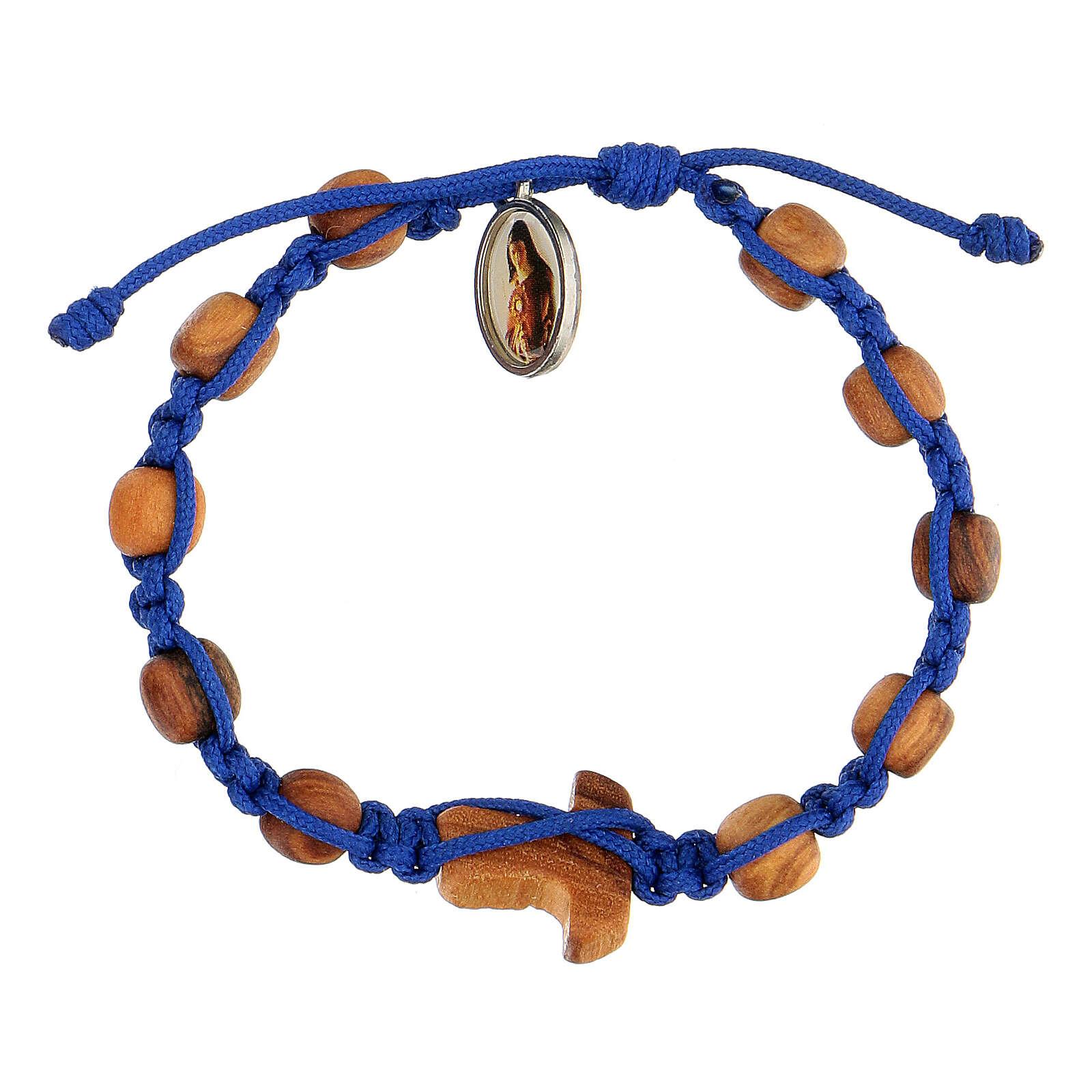 Pulsera medalla niño Medjugorje cuerda azul 4