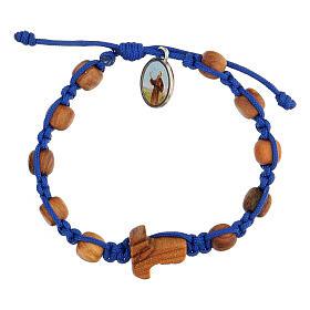 Pulsera medalla niño Medjugorje cuerda azul s1
