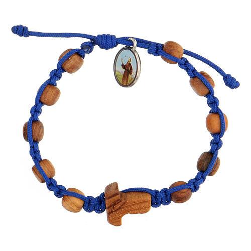 Pulsera medalla niño Medjugorje cuerda azul 1