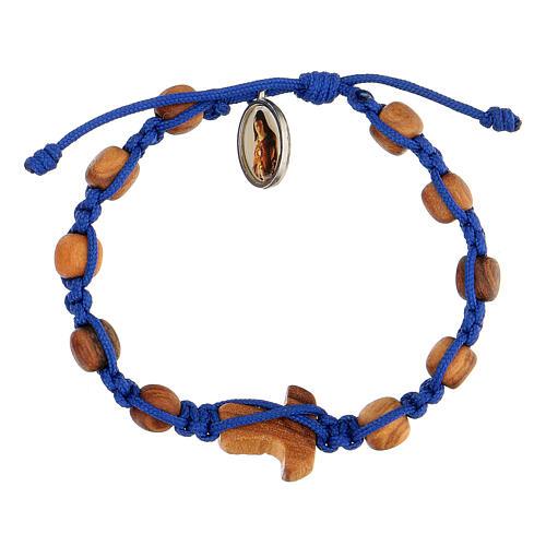Pulsera medalla niño Medjugorje cuerda azul 2
