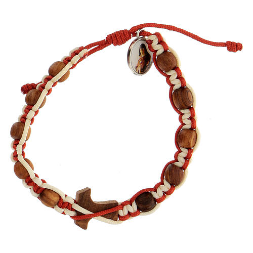 Bracelet Medjugorje child cross tau two-tone white and red rope  2