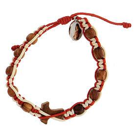 Bracelet Medjugorje enfant croix tau corde bicolore blanc et rouge s2