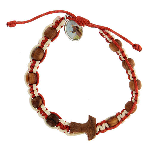 Bracelet Medjugorje enfant croix tau corde bicolore blanc et rouge 1