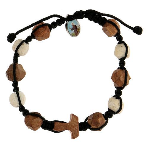 Bracelet with olive wood components, characterised by rounded beads and tau cross 1