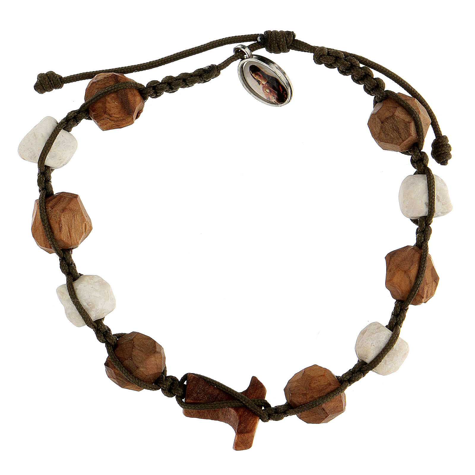 Bracelet with grains and tau cross in olive wood tied together by a brown rope 4