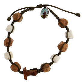 Bracelet with grains and tau cross in olive wood tied together by a brown rope s1