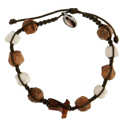 Bracelet with grains and tau cross in olive wood tied together by a brown rope 2