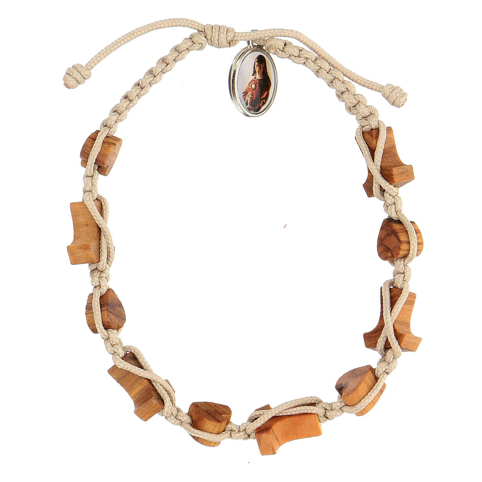 Medjugorje bracelet hearts and tau crosses in olive wood 4