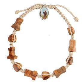 Medjugorje bracelet hearts and tau crosses in olive wood s1