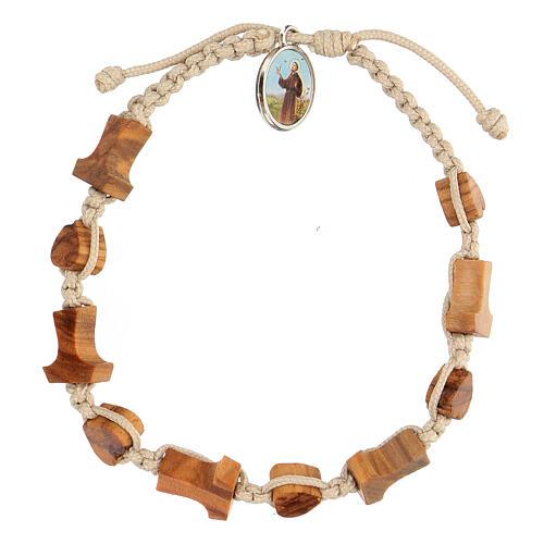 Medjugorje bracelet hearts and tau crosses in olive wood 1