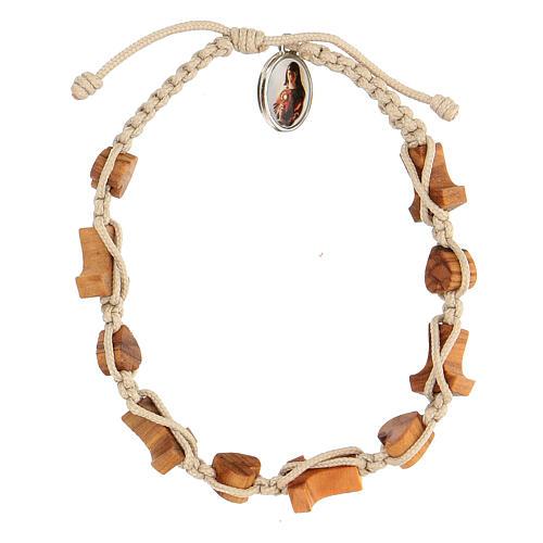Medjugorje bracelet hearts and tau crosses in olive wood 2